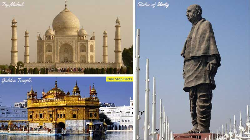 India world record (Statue of Unity - Taj Mahal - Golden Temple)